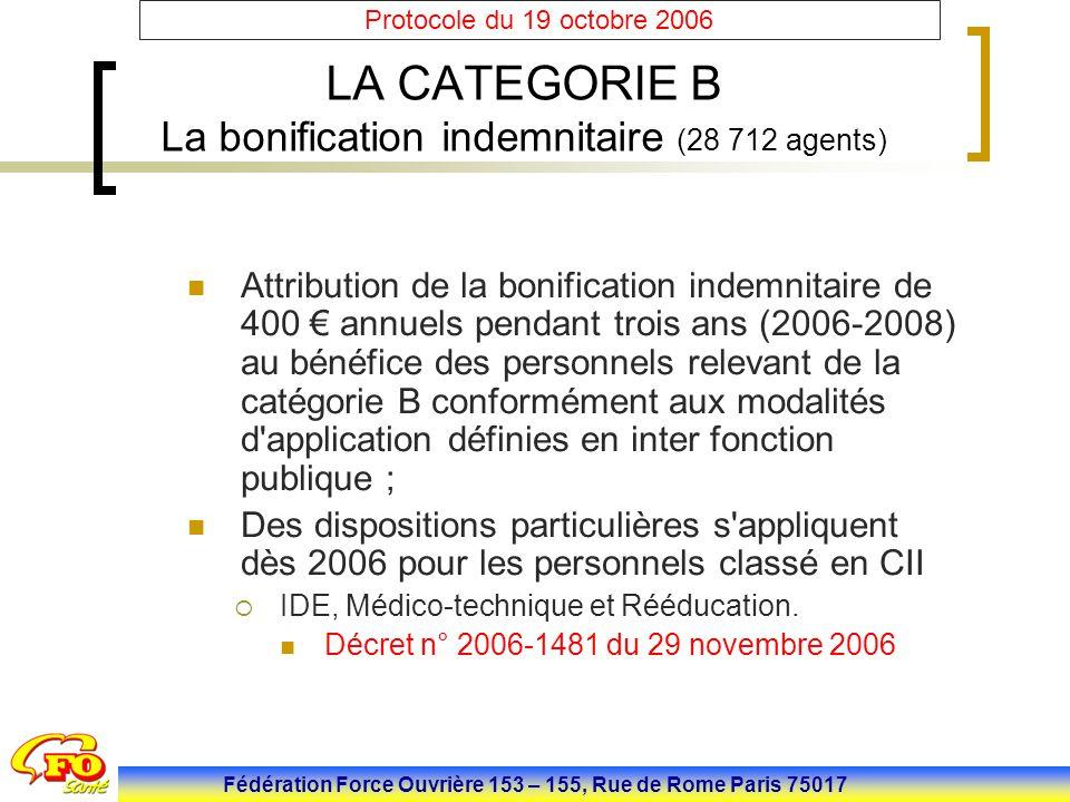 Fédération Force Ouvrière 153 – 155, Rue de Rome Paris 75017 Protocole du 19 octobre 2006 LA CATEGORIE B La bonification indemnitaire (28 712 agents)
