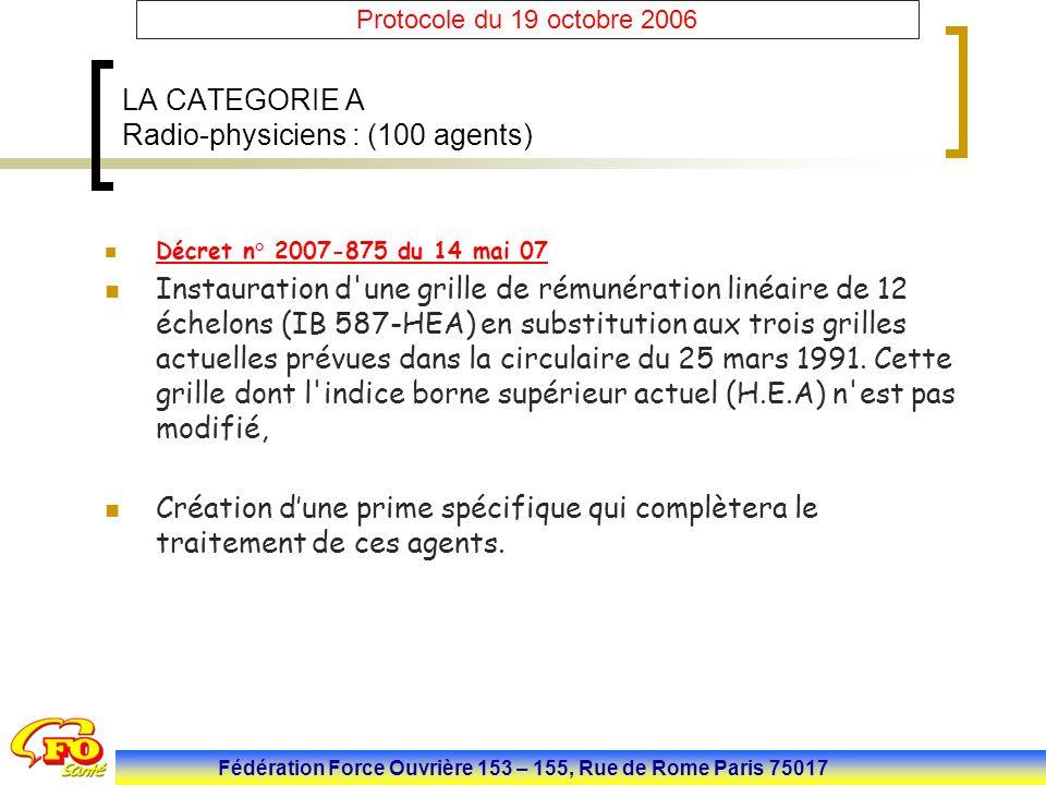 Fédération Force Ouvrière 153 – 155, Rue de Rome Paris 75017 Protocole du 19 octobre 2006 LA CATEGORIE A Radio-physiciens : (100 agents) Décret n° 200