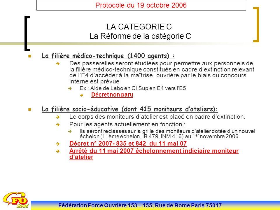 Fédération Force Ouvrière 153 – 155, Rue de Rome Paris 75017 Protocole du 19 octobre 2006 MESURES STATUTAIRES Catégorie C – Aides médico-techniques Possibilité pour les personnels : Aide de labo - Aide de pharmacie – Aide d'électroradio en Cadre d'Extinction aux échelles E3-E4 d'accéder par voie de concours au corps de la maîtrise ouvrière au grade d'agent de maîtrise Aide Technique d'électroradiologie Possibilité de détachement dans le corps de la maîtrise ouvrière au grade d'agent de maîtrise