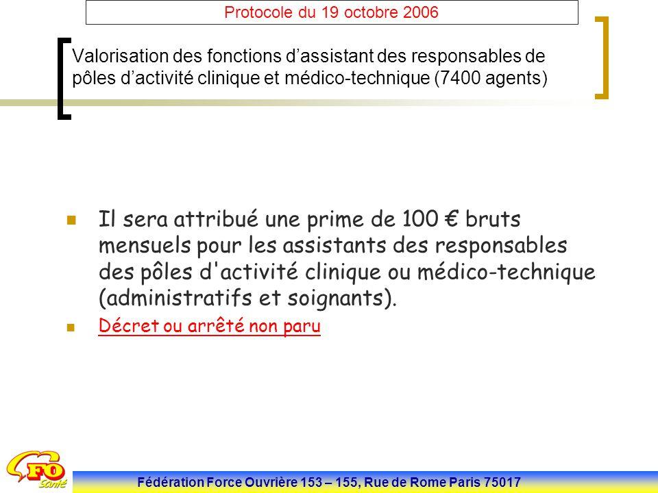 Fédération Force Ouvrière 153 – 155, Rue de Rome Paris 75017 Protocole du 19 octobre 2006 Valorisation des fonctions d'assistant des responsables de p