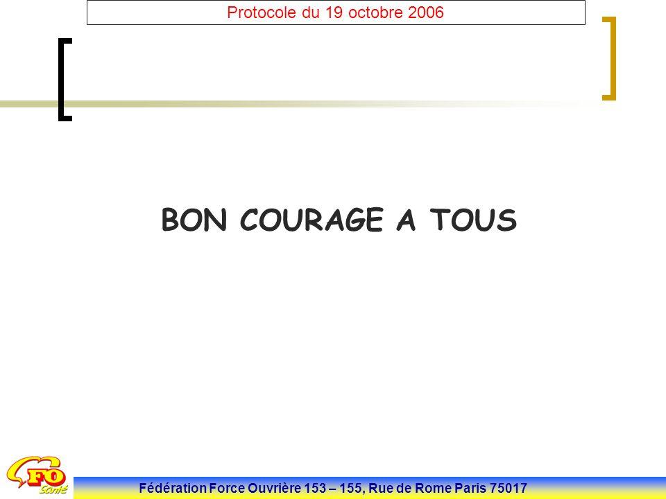 Fédération Force Ouvrière 153 – 155, Rue de Rome Paris 75017 Protocole du 19 octobre 2006 BON COURAGE A TOUS