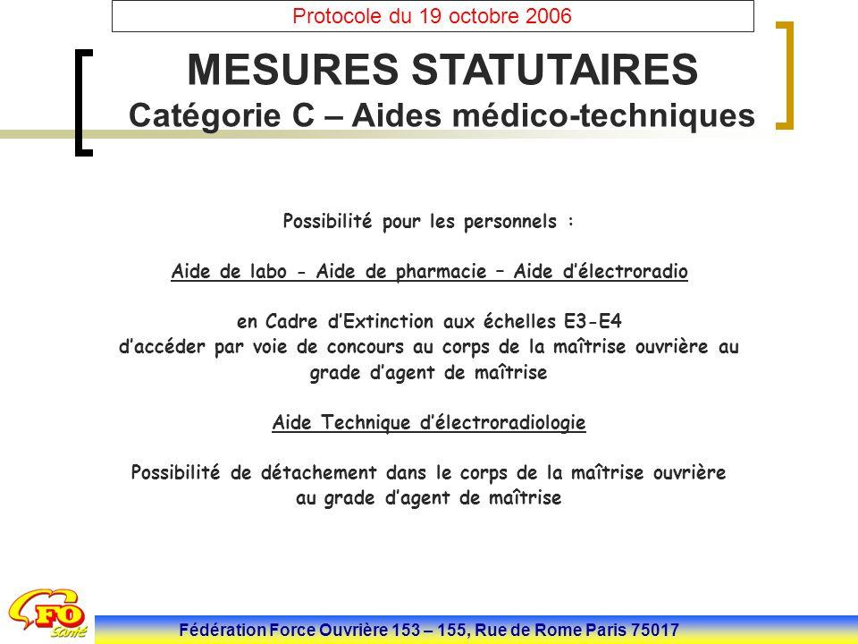 Fédération Force Ouvrière 153 – 155, Rue de Rome Paris 75017 Protocole du 19 octobre 2006 LA CATEGORIE C La Réforme de la catégorie C La Filière Soignante : Les corps des A.S (A.S, A.P et A.M.P) (196 000 agents).(suite)  Ce reclassement s'effectuera à l'indice immédiatement supérieur et sera réalisé sur deux ans (25 juin 2007 et 1 er Janvier 2008)  50% en 2007 : avec la priorité donnée aux départs en retraite et le reste est répartie en 1/3 sur les 3 grades  50% en 2008 : Le reclassement ainsi réalisé permet de conserver l ancienneté détenue par les aides-soignants dans l échelon d origine au prorata de la durée dans l échelon de reclassement lorsque l indice afférent procure un gain inférieur à celui que leur aurait procuré un avancement d échelon dans l échelle de rémunération d origine..