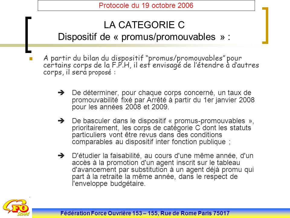 Fédération Force Ouvrière 153 – 155, Rue de Rome Paris 75017 Protocole du 19 octobre 2006 LA CATEGORIE C Dispositif de « promus/promouvables » : A par