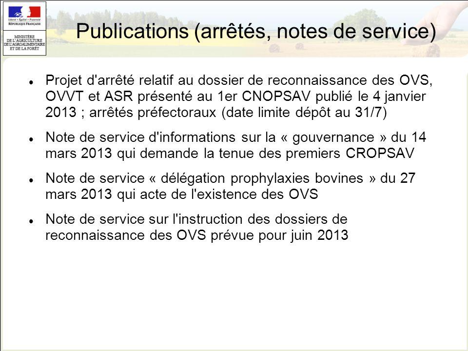 Publications (arrêtés, notes de service) Projet d'arrêté relatif au dossier de reconnaissance des OVS, OVVT et ASR présenté au 1er CNOPSAV publié le 4