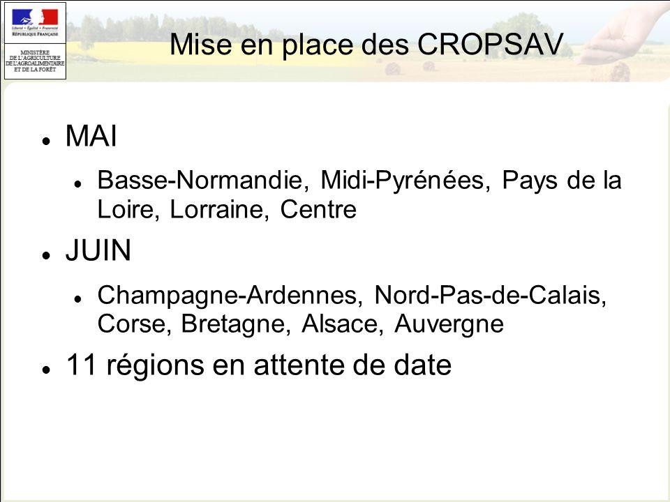 Mise en place des CROPSAV MAI Basse-Normandie, Midi-Pyrénées, Pays de la Loire, Lorraine, Centre JUIN Champagne-Ardennes, Nord-Pas-de-Calais, Corse, B