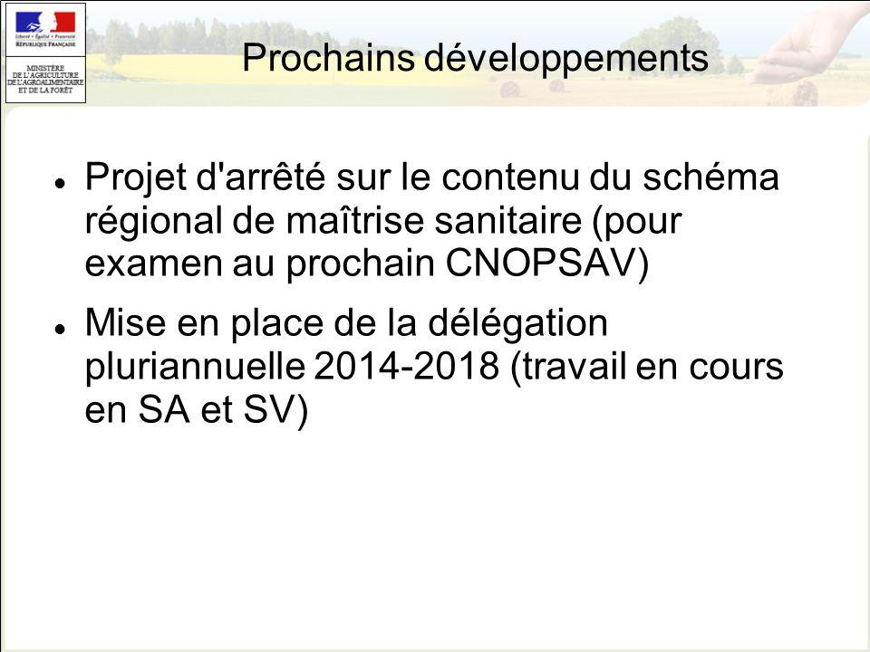 Prochains développements Projet d'arrêté sur le contenu du schéma régional de maîtrise sanitaire (pour examen au prochain CNOPSAV) Mise en place de la