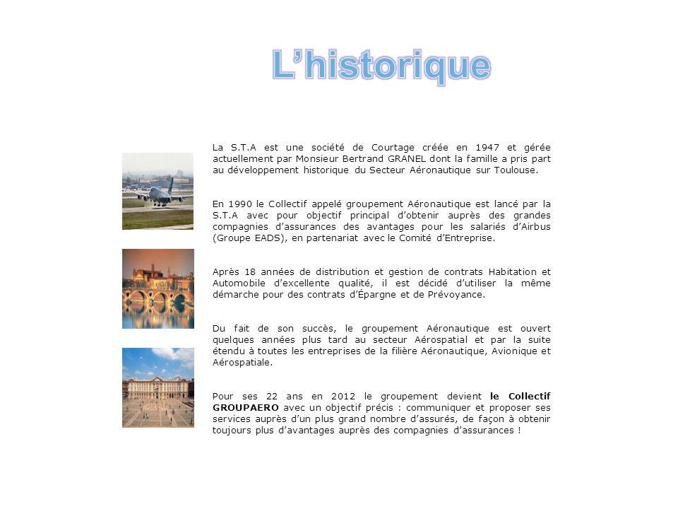 La S.T.A est une société de Courtage créée en 1947 et gérée actuellement par Monsieur Bertrand GRANEL dont la famille a pris part au développement historique du Secteur Aéronautique sur Toulouse.