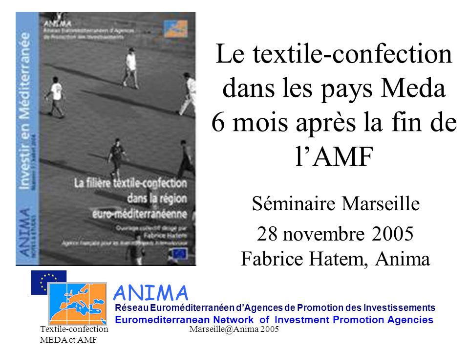 Textile-confection MEDA et AMF Marseille@Anima 2005 Le textile-confection dans les pays Meda 6 mois après la fin de l'AMF Séminaire Marseille 28 novem