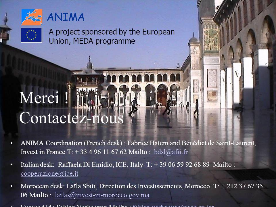 Textile-confection MEDA et AMF Marseille@Anima 2005 Merci ! Contactez-nous ANIMA Coordination (French desk) : Fabrice Hatem and Bénédict de Saint-Laur