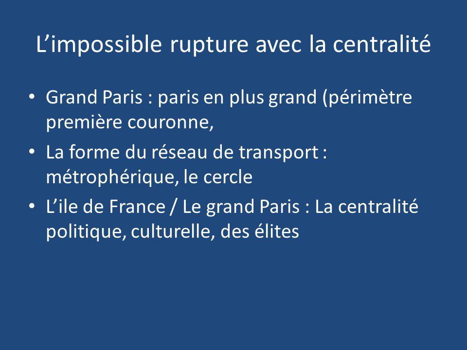 L'impossible rupture avec la centralité Grand Paris : paris en plus grand (périmètre première couronne, La forme du réseau de transport : métrophériqu