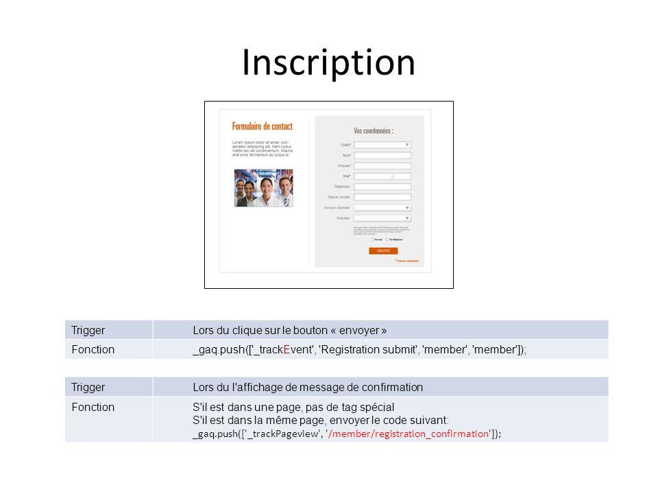 Inscription TriggerLors du clique sur le bouton « envoyer » Fonction_gaq.push([ _trackEvent , Registration submit , member , member ]); TriggerLors du l affichage de message de confirmation FonctionS il est dans une page, pas de tag spécial S il est dans la même page, envoyer le code suivant: _gaq.push([ _trackPageview , /member/registration_confirmation ]);