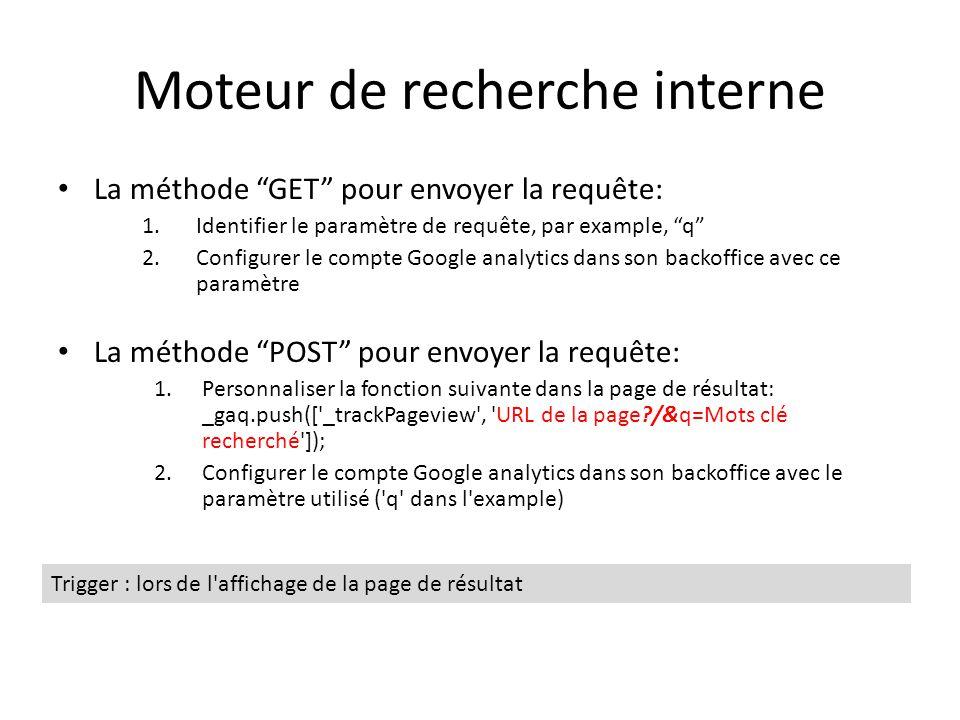Moteur de recherche interne La méthode GET pour envoyer la requête: 1.Identifier le paramètre de requête, par example, q 2.Configurer le compte Google analytics dans son backoffice avec ce paramètre La méthode POST pour envoyer la requête: 1.Personnaliser la fonction suivante dans la page de résultat: _gaq.push([ _trackPageview , URL de la page /&q=Mots clé recherché ]); 2.Configurer le compte Google analytics dans son backoffice avec le paramètre utilisé ( q dans l example) Trigger : lors de l affichage de la page de résultat
