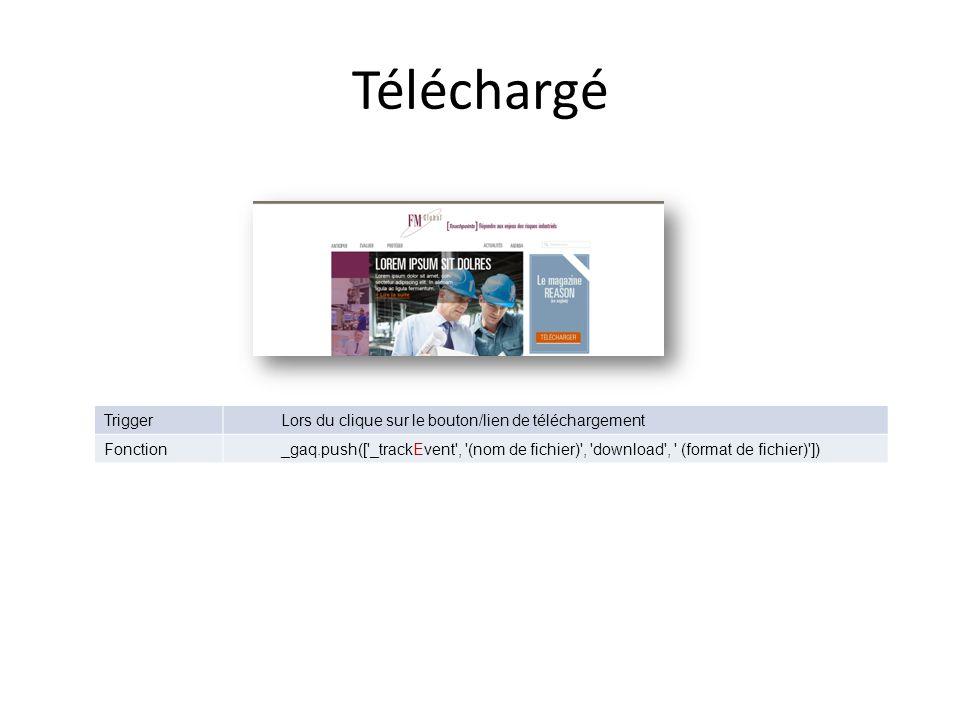 Téléchargé TriggerLors du clique sur le bouton/lien de téléchargement Fonction_gaq.push([ _trackEvent , (nom de fichier) , download , (format de fichier) ])