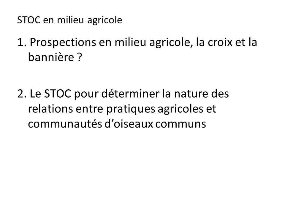 STOC en milieu agricole 1. Prospections en milieu agricole, la croix et la bannière .