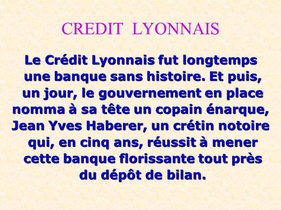 CREDIT LYONNAIS Le Crédit Lyonnais fut longtemps une banque sans histoire. Et puis, une banque sans histoire. Et puis, un jour, le gouvernement en pla