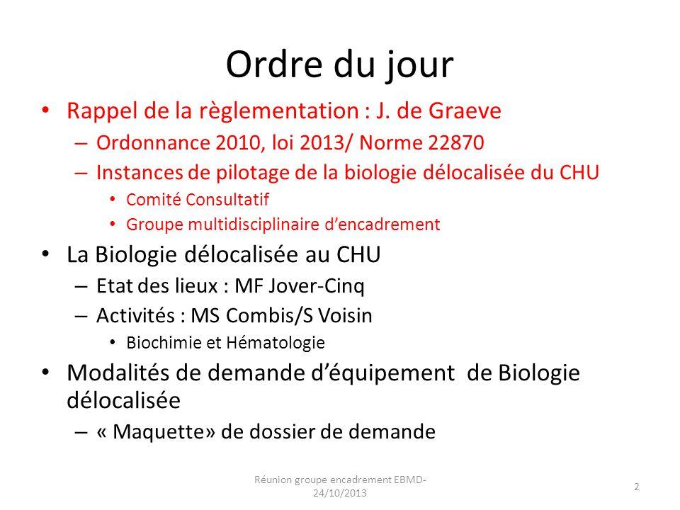 Ordre du jour Rappel de la règlementation : J. de Graeve – Ordonnance 2010, loi 2013/ Norme 22870 – Instances de pilotage de la biologie délocalisée d