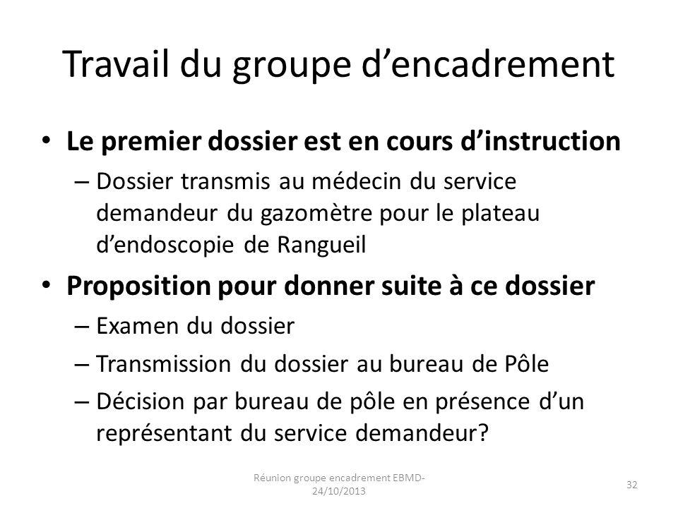 Travail du groupe d'encadrement Le premier dossier est en cours d'instruction – Dossier transmis au médecin du service demandeur du gazomètre pour le