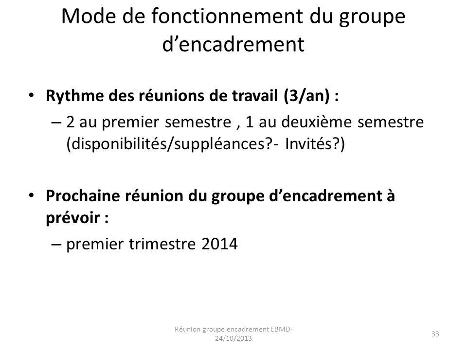 Mode de fonctionnement du groupe d'encadrement Rythme des réunions de travail (3/an) : – 2 au premier semestre, 1 au deuxième semestre (disponibilités