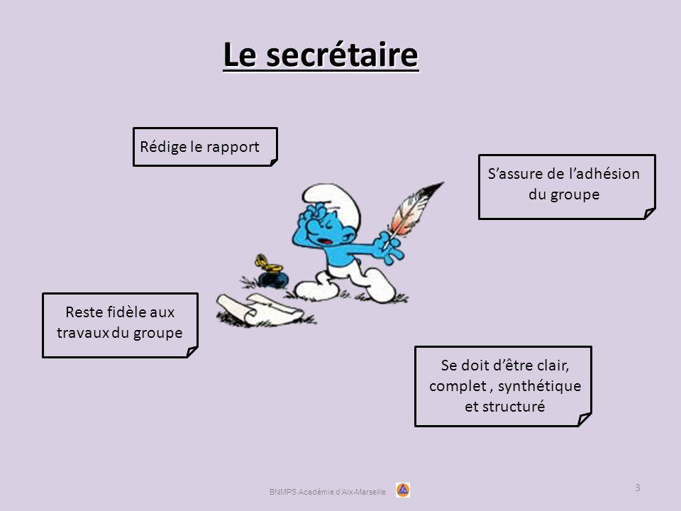 Le secrétaire 3 Rédige le rapportSe doit d'être clair, complet, synthétique et structuré Reste fidèle aux travaux du groupe S'assure de l'adhésion du groupe BNMPS Académie d'Aix-Marseille