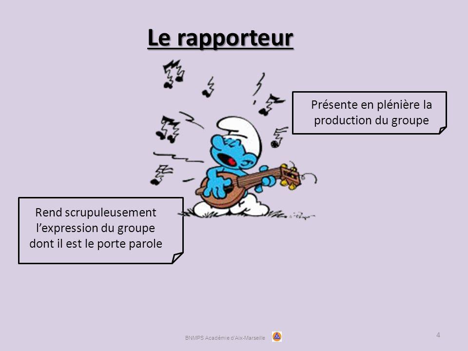 Le rapporteur 4 Rend scrupuleusement l'expression du groupe dont il est le porte parole Présente en plénière la production du groupe BNMPS Académie d'Aix-Marseille