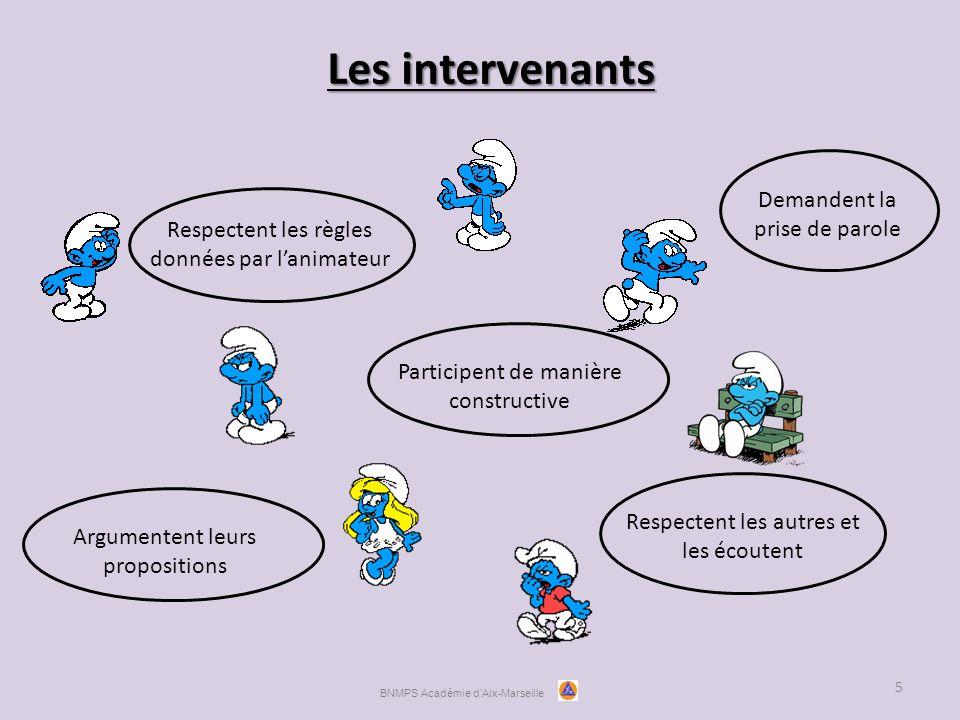 Les intervenants 5 Respectent les règles données par l'animateur Participent de manière constructive Respectent les autres et les écoutent BNMPS Académie d'Aix-Marseille Argumentent leurs propositions Demandent la prise de parole