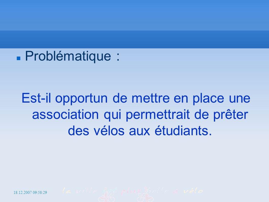 18.12.2007 09:58:29 http://iutcs.free.fr/gu Problématique : Est-il opportun de mettre en place une association qui permettrait de prêter des vélos aux étudiants.