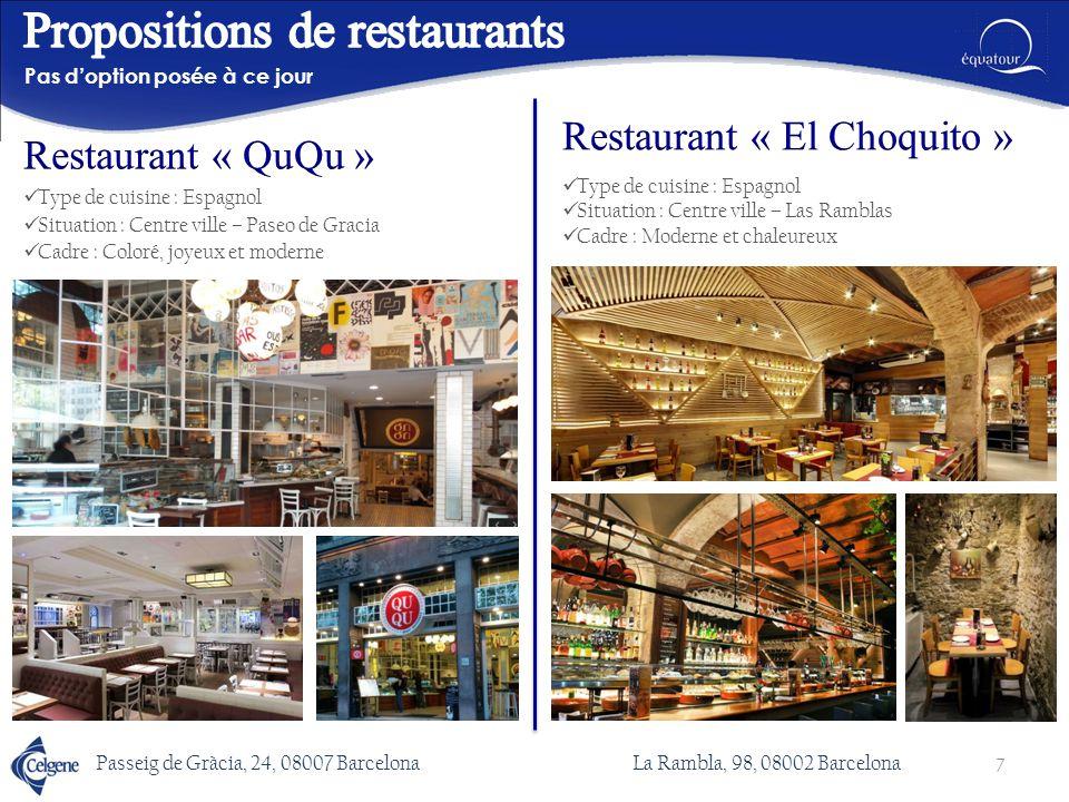 Type de cuisine : Espagnol Situation: Centre ville – Paseo de Gracia Cadre : Design et actuel Pas d'option posée à ce jour Passeig de Gràcia, 37, 08007 Barcelona 8