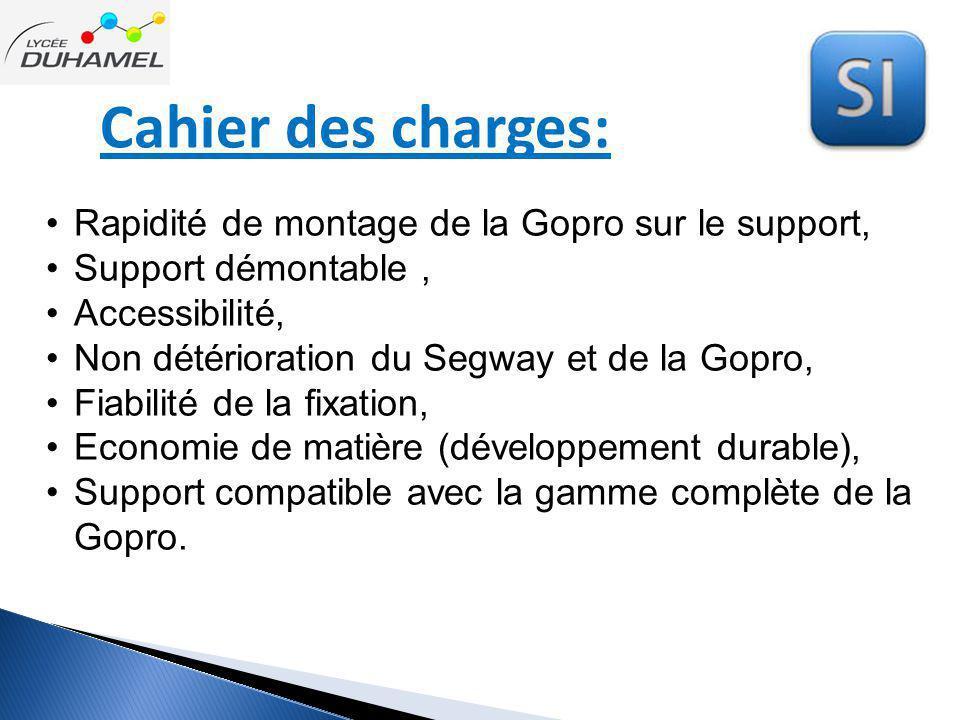 Cahier des charges: Rapidité de montage de la Gopro sur le support, Support démontable, Accessibilité, Non détérioration du Segway et de la Gopro, Fia