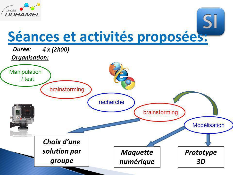 Séances et activités proposées: Durée: 4 x (2h00) Manipulation / test brainstorming recherche brainstorming Choix d'une solution par groupe Modélisati
