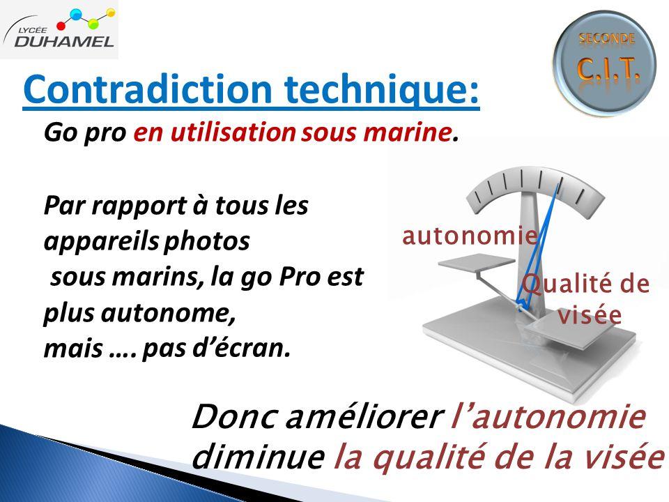 Contradiction technique: Go pro en utilisation sous marine. autonomie Qualité de visée Par rapport à tous les appareils photos sous marins, la go Pro