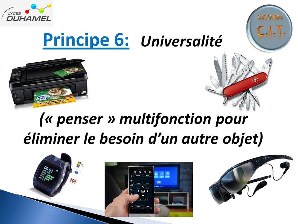 Principe 6: Universalité (« penser » multifonction pour éliminer le besoin d'un autre objet)