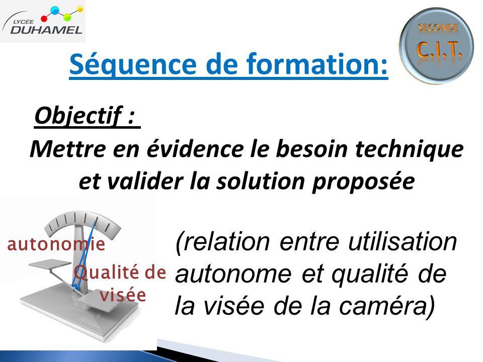 Séquence de formation: Objectif : Mettre en évidence le besoin technique et valider la solution proposée autonomie Qualité de visée (relation entre ut