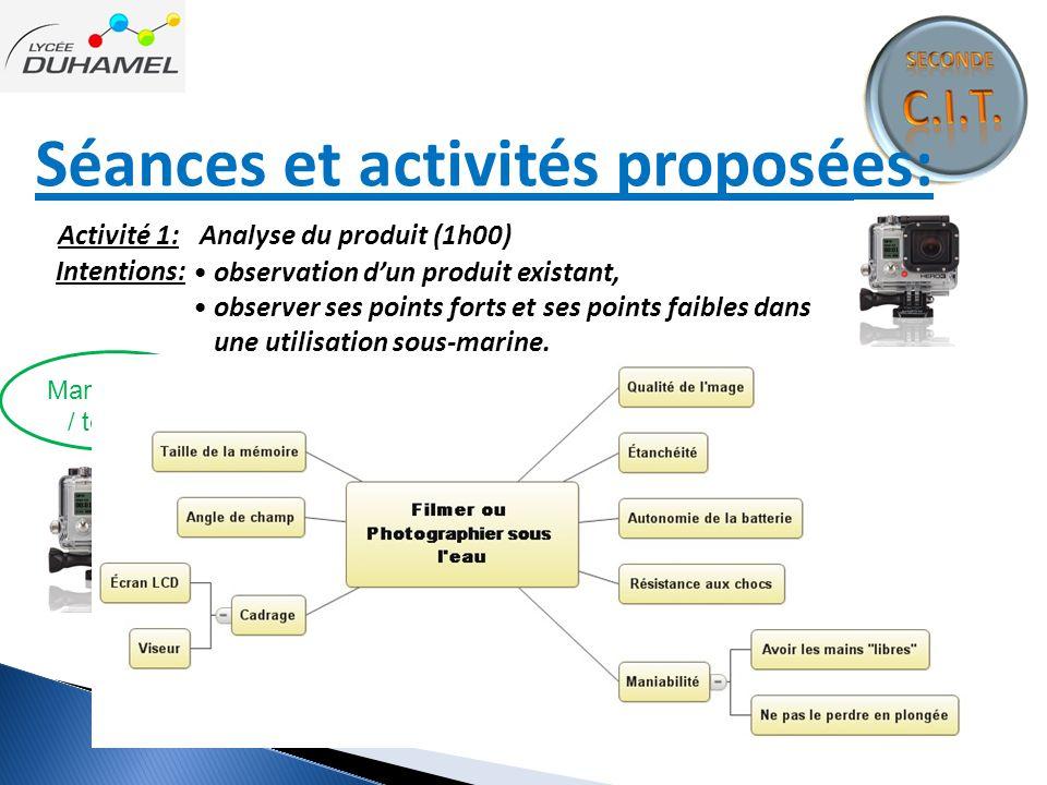 Séances et activités proposées: Activité 1: Analyse du produit (1h00) Intentions: Manipulation / test brainstorming observation d'un produit existant,