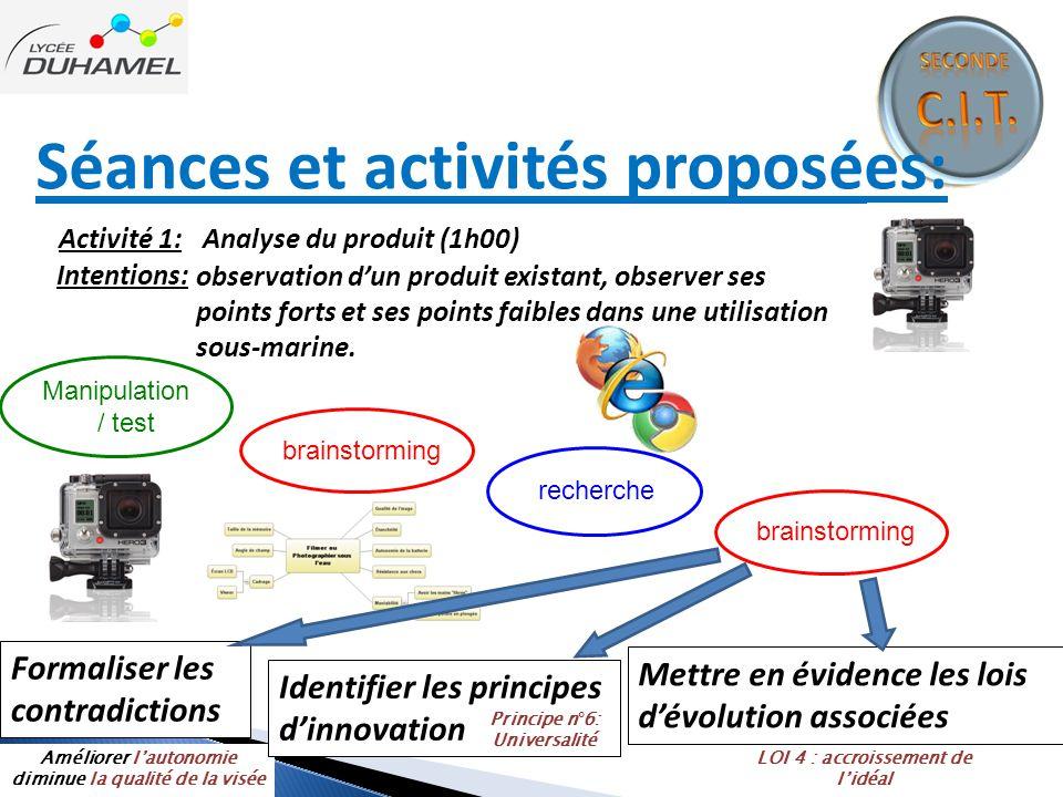 Séances et activités proposées: Activité 1: Analyse du produit (1h00) Intentions: observation d'un produit existant, observer ses points forts et ses