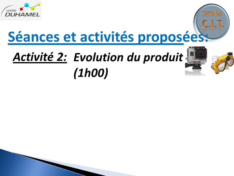 Séances et activités proposées: Activité 2: Evolution du produit (1h00)