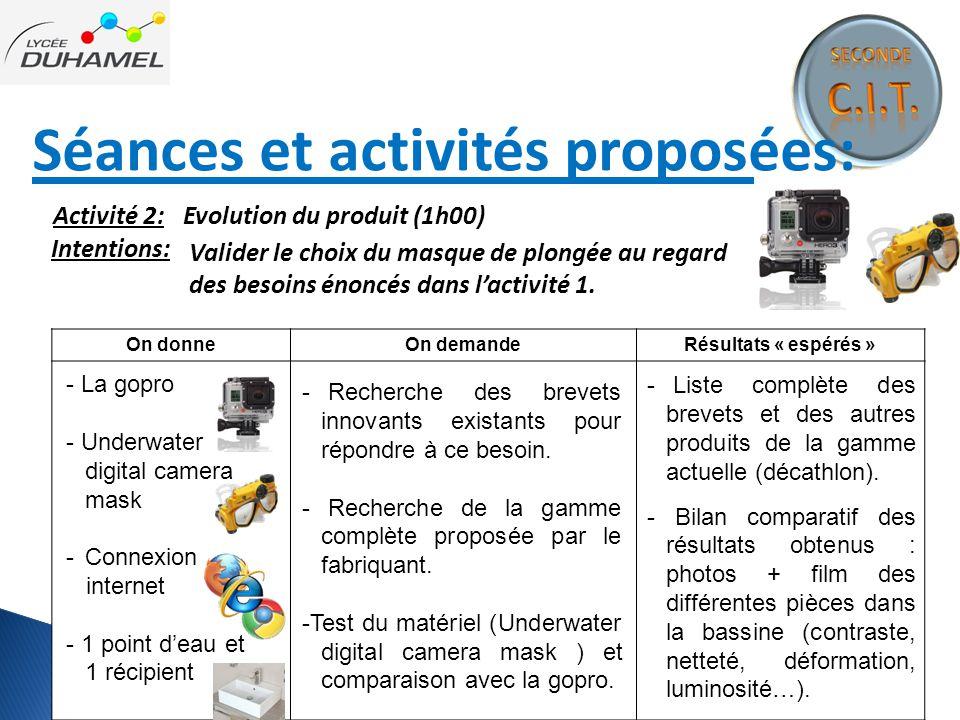 Séances et activités proposées: Intentions: On donneOn demandeRésultats « espérés » - Recherche des brevets innovants existants pour répondre à ce bes