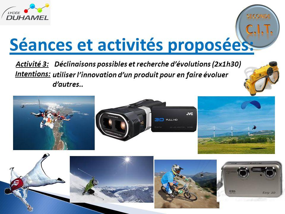 Séances et activités proposées: Intentions: Activité 3: Déclinaisons possibles et recherche d'évolutions (2x1h30) utiliser l'innovation d'un produit p