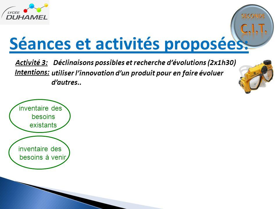 Séances et activités proposées: inventaire des besoins existants Intentions: Activité 3: Déclinaisons possibles et recherche d'évolutions (2x1h30) uti