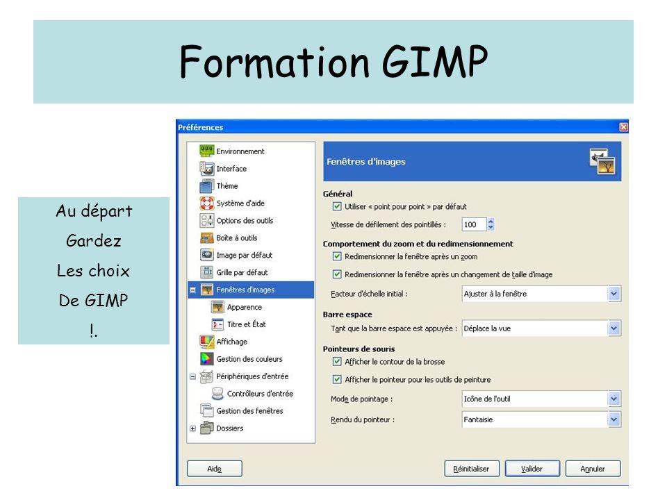 Formation GIMP Au départ Gardez Les choix De GIMP !.