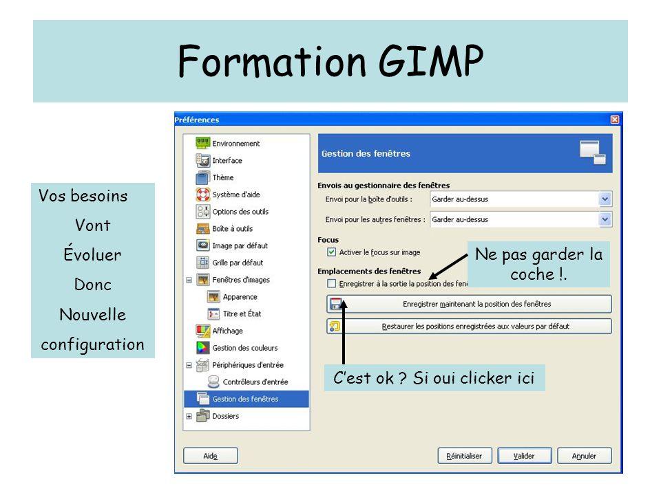Formation GIMP Ne pas garder la coche !. C'est ok ? Si oui clicker ici Vos besoins Vont Évoluer Donc Nouvelle configuration