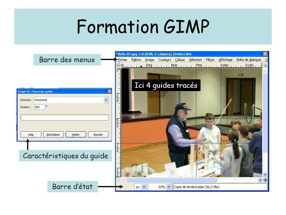 Formation GIMP Barre des menus Barre d'état Ici 4 guides tracés Caractéristiques du guide