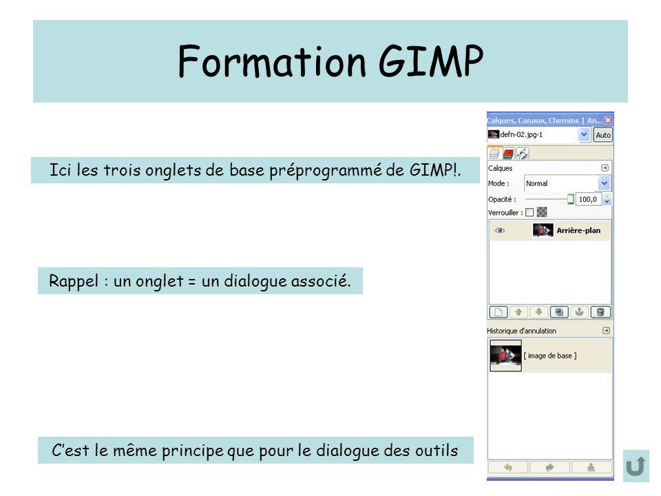Formation GIMP C'est le même principe que pour le dialogue des outils Ici les trois onglets de base préprogrammé de GIMP!. Rappel : un onglet = un dia