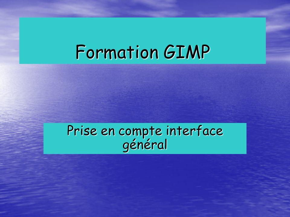 Formation GIMP Prise en compte interface général