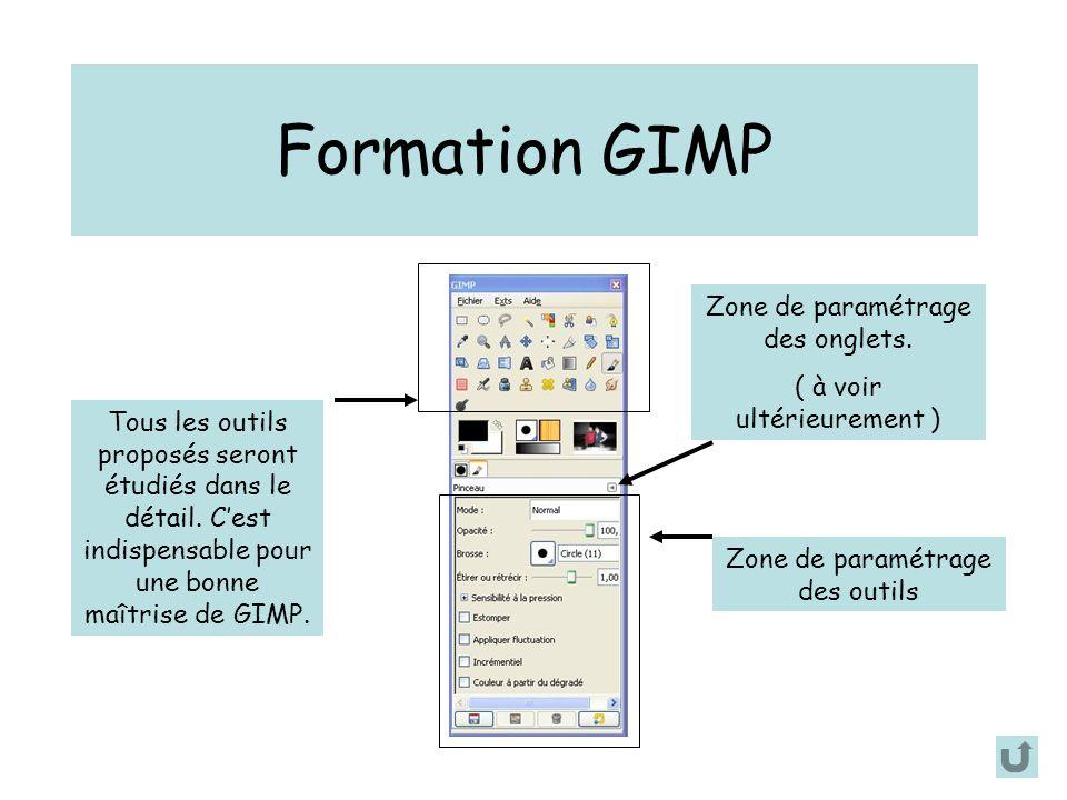 Formation GIMP Tous les outils proposés seront étudiés dans le détail. C'est indispensable pour une bonne maîtrise de GIMP. Zone de paramétrage des ou