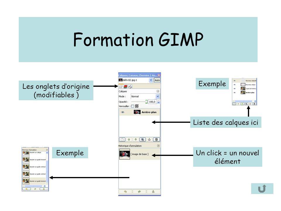 Formation GIMP Liste des calques ici Un click = un nouvel élément Les onglets d'origine (modifiables ) Exemple