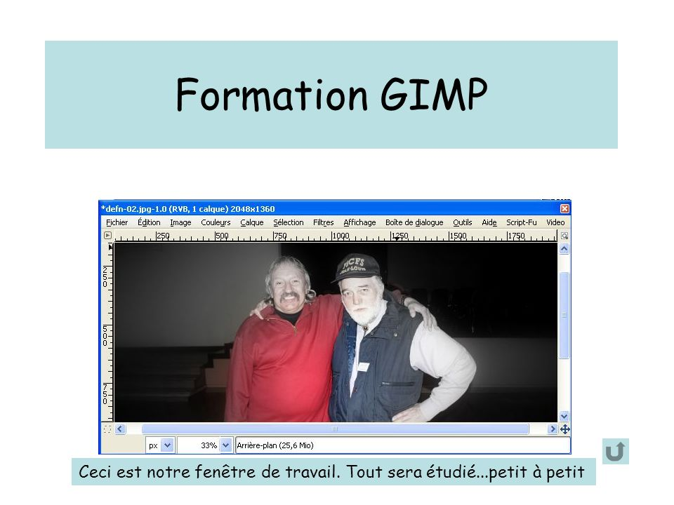 Formation GIMP Permettre l'affichage des guides Pour créer le guide