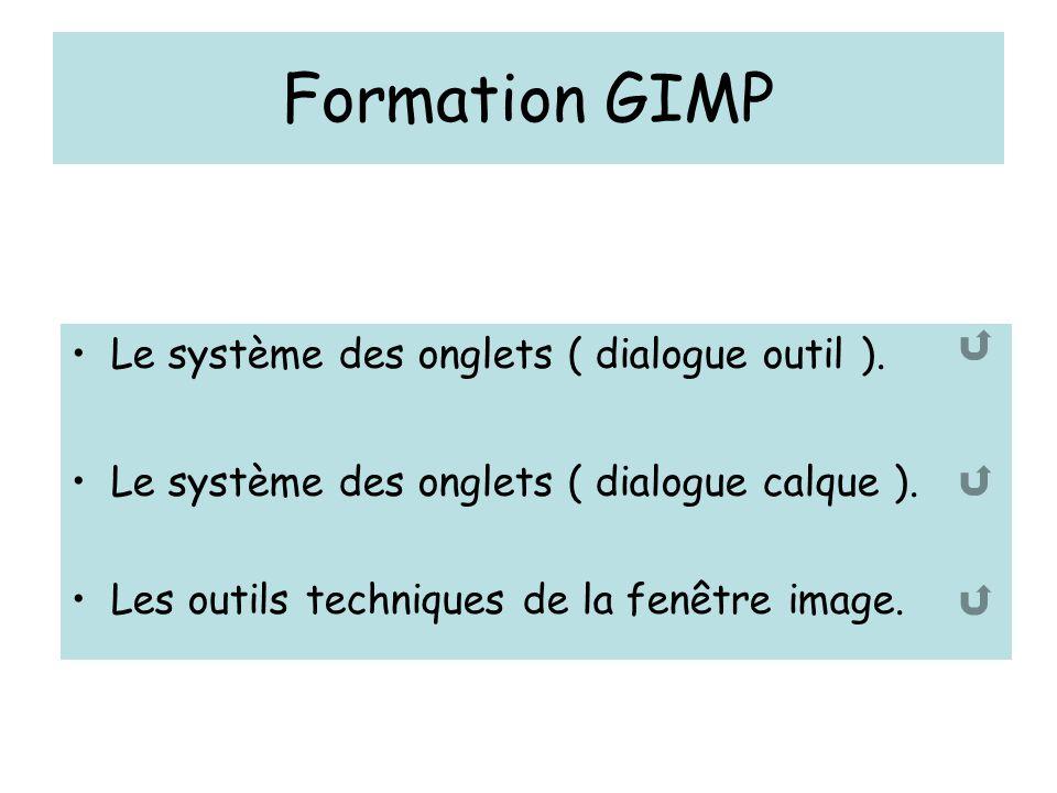 Formation GIMP Le système des onglets ( dialogue outil ). Le système des onglets ( dialogue calque ). Les outils techniques de la fenêtre image.