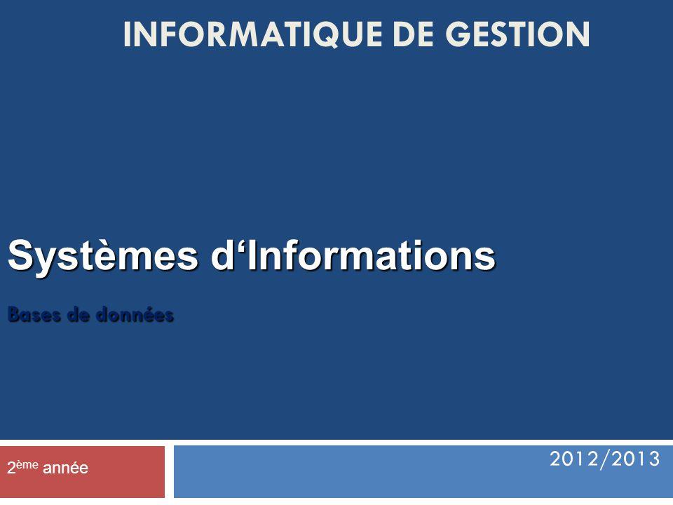 Système d information (SI)  Un système d information (SI) est un ensemble organisaient de ressources (matériels, logiciels, personnel, données et procédures) qui permet de regrouper, de classifier, de traiter et de diffuser de l information sur un environnement donné.