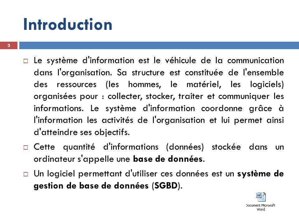 Introduction  Différents logiciels existent;  Un tableur (Excel) peut être considéré comme un SGBD.