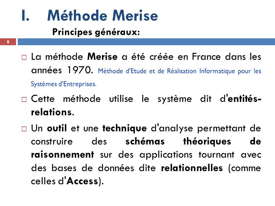 I.Méthode Merise  A noter que nous ne présenterons ici qu une partie de la méthode Merise, puisque la méthode Merise générale traite de l intégralité de la conception de la base de données :  Elle ne s intéresse pas uniquement de la partie correspondant au stockage des données, mais également à leur traitement.